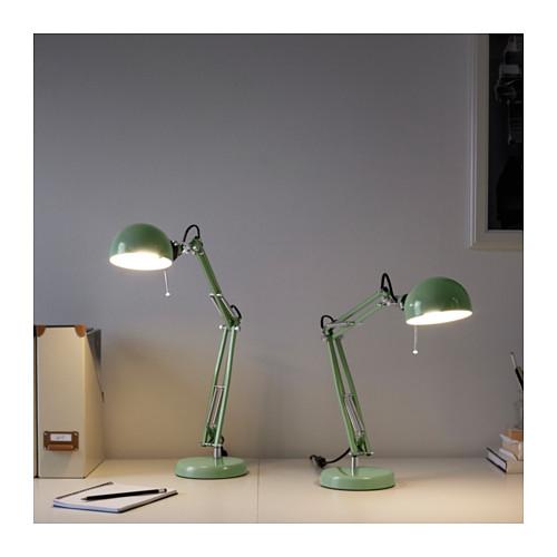 ikea forsa arbeitsleuchte schreibtischlampe lampe leuchte tischlampe gr n ebay. Black Bedroom Furniture Sets. Home Design Ideas
