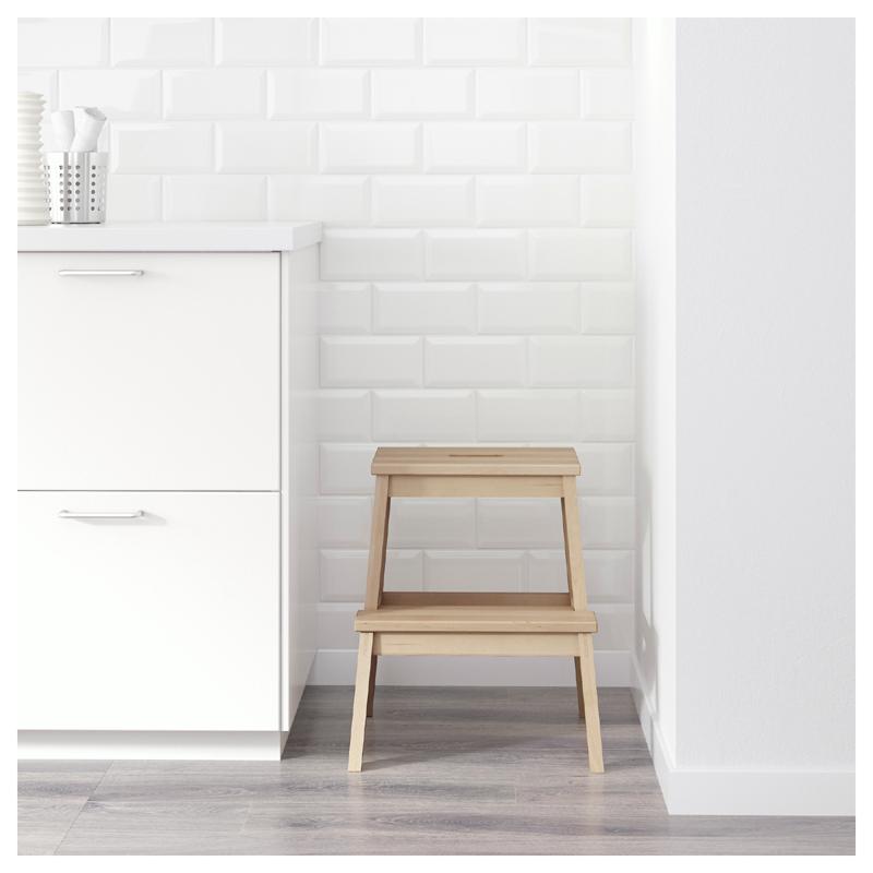 ikea oddvar hocker holzhocker mit bekv m stufe schemel tritthocker massivholz ebay. Black Bedroom Furniture Sets. Home Design Ideas