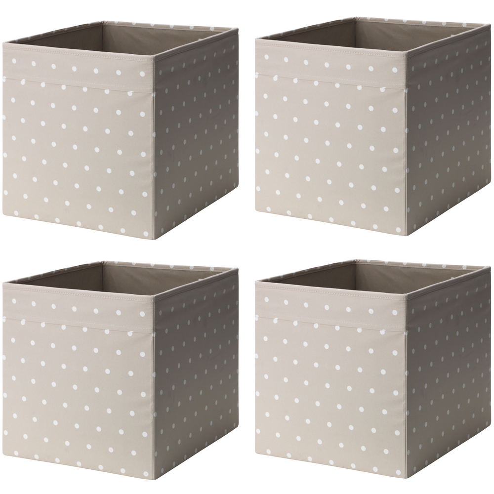 ikea dr na 4 set fach box expedit kallax regal aufbewahrungsbox beige gepunktet ebay. Black Bedroom Furniture Sets. Home Design Ideas