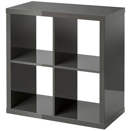 ikea kallax regal hochlanz grau 77 x 77 x 39cm b cherregal wandregal sideboard ebay. Black Bedroom Furniture Sets. Home Design Ideas