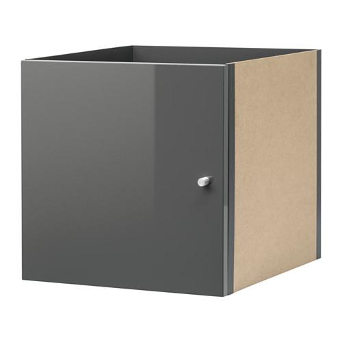 ikea kallax einsatz mit t r hochglanz grau 33x33 f r expedit kallax regal neu ebay. Black Bedroom Furniture Sets. Home Design Ideas