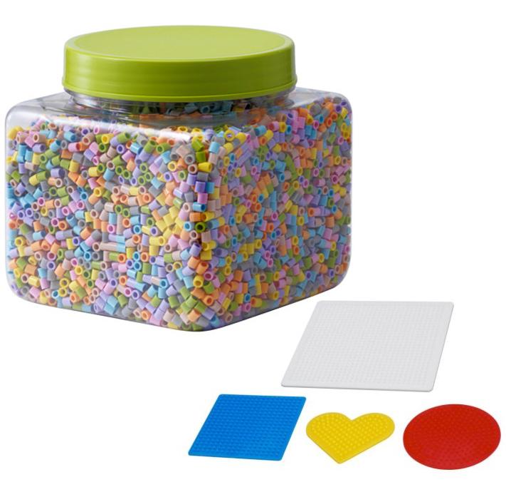 IKEA Bügelperlen Pyssla Steckperlen Bilderperlen mit Platte 4Set Pastellfarben
