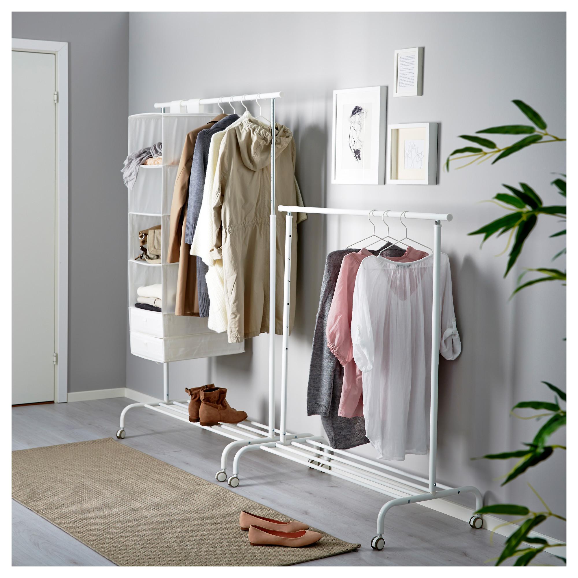 IKEA weiß Garderobenständer Garderobe Rollständer Kleiderständer Kleideraufhänge